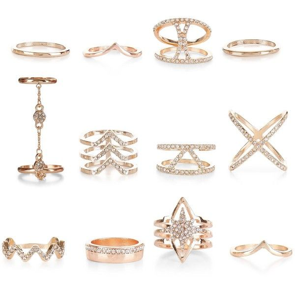 New Look 12 Pack Gold Diamante Rings ($22) ❤ liked on Polyvore featuring jewelry, rings, multicolour, tri color ring, yellow gold jewelry, gold jewelry, multicolor ring and tri color gold ring