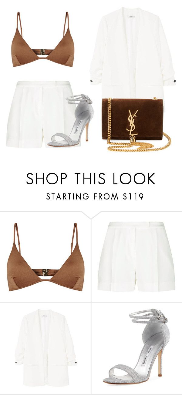 Untitled #49 by nicole-perestrelo21 on Polyvore featuring MANGO, Elie Saab, Melissa Odabash, Manolo Blahnik and Yves Saint Laurent