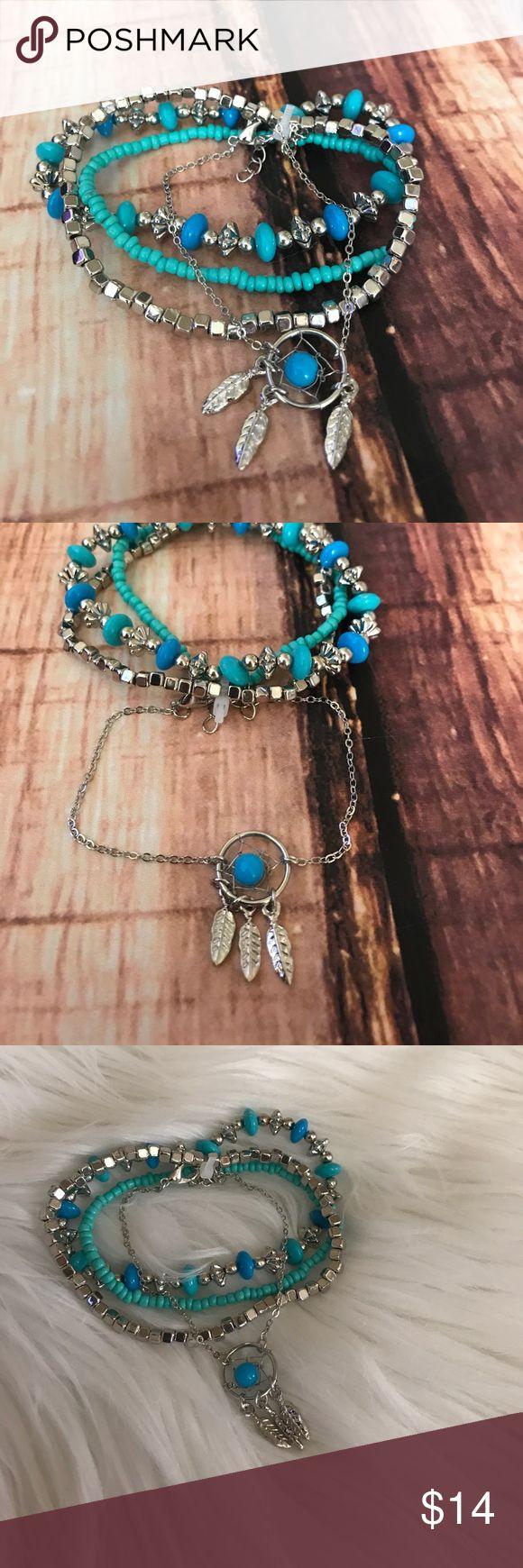 << Dreamcatcher Bracelet Bundle >> 4 bracelet bundle! These beautiful bracelets complement each other so well! 3 bracelets are stretchy, and the dream catcher bracelet has adjustable clasp closure Boutique Jewelry Bracelets