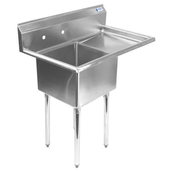 Commercial Stainless Steel Kitchen Utility Sink With Drainboard 39 Wide Mixwholesale Co Stainless Steel Utility Sink Utility Sink Commercial Kitchen Sinks