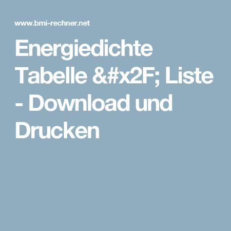 Energiedichte Tabelle / Liste - Download und Drucken
