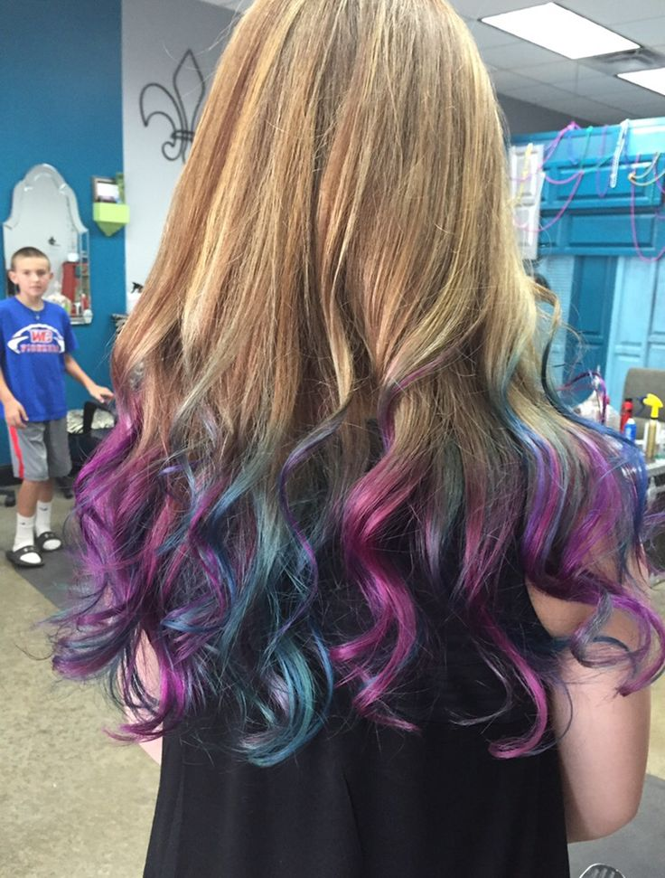 Purple Blue And Turquoise Dip Dye Twisted Salon In