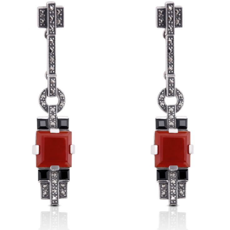 Sterling Silver Onyx Carnelian And Marcasite Art Deco Style Drop Earrings