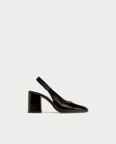 Image 2 of LEATHER BLOCK HEEL SLINGBACK SHOES from Zara