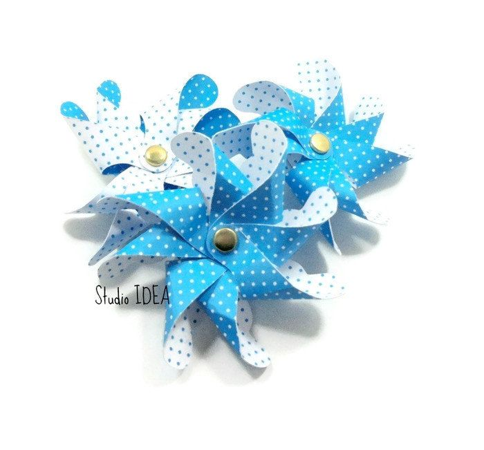 """3D Layered Paper Pinwheels 3.5""""-Double sided Polka dots Paper Pinwheels with Brad  Sets of 5pcs, 10pcs- Blue & White or Choose Your Colors by StudioIdea on Etsy"""