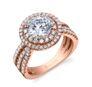 Alternative Metal Engagement Ring - Double Halo from Sylvie.  Hot new style for 2015! exclusivelydiamonds.com