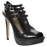 Black Leather Peep Toe Court Shoe