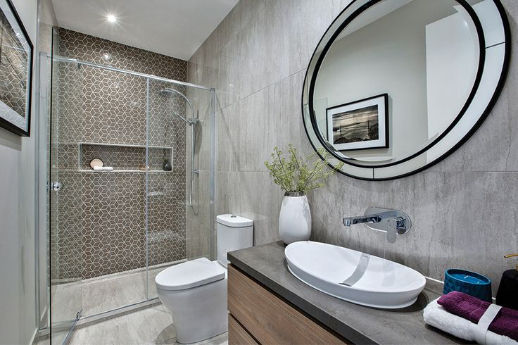 Powder room with downstairs shower to be accessed by the pool. On display in the Waldorf with San Francisco World of Style.