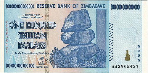 100 trillion Zimbabwean dollar banknote
