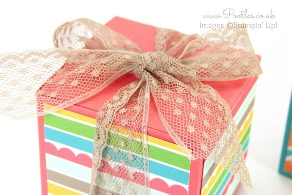 Stampin' Up! Demonstrator Pootles - Triple Jumbo Tea Light Box Tutorial Tip Top Taupe Ribbon