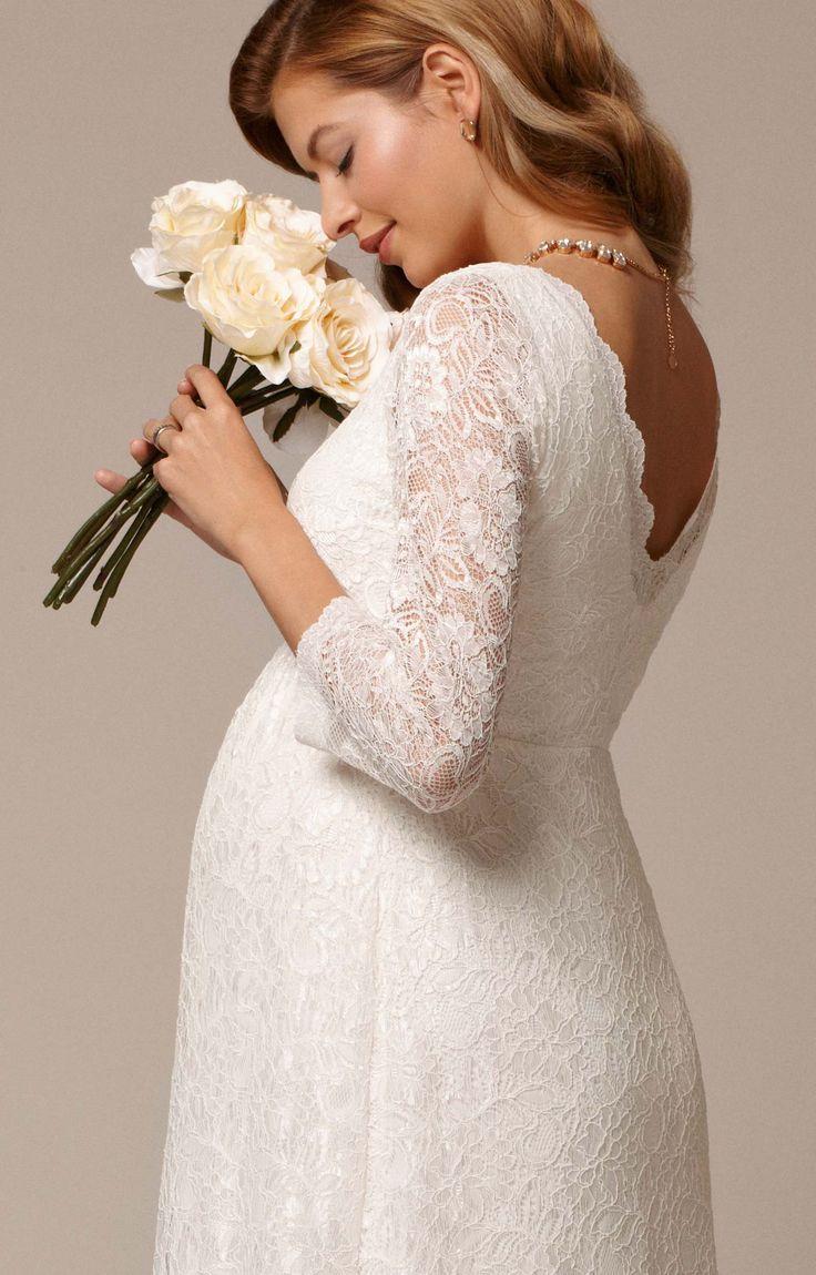 White maternity wedding dress   best boda images on Pinterest  Wedding ideas Weddings and