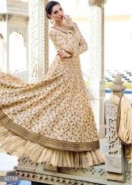 Nargis Fakhri In Heavy Embroidered Cream Color Anarkali Suit