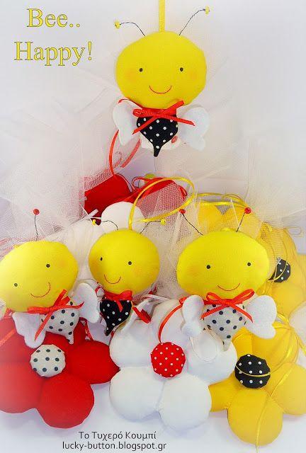 Το τυχερό κουμπί: «Bee.. Happy» Μελισσούλες! honeycomb & flowers, sewing