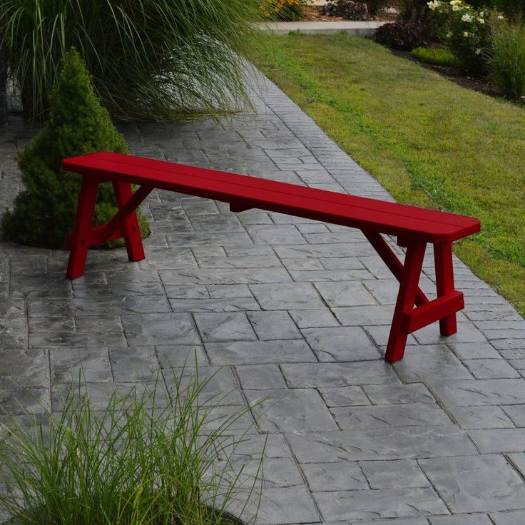 Outdoor A & L Furniture Yellow Pine Traditional Bench Tractor Red - 155-TRP TRACTOR RED