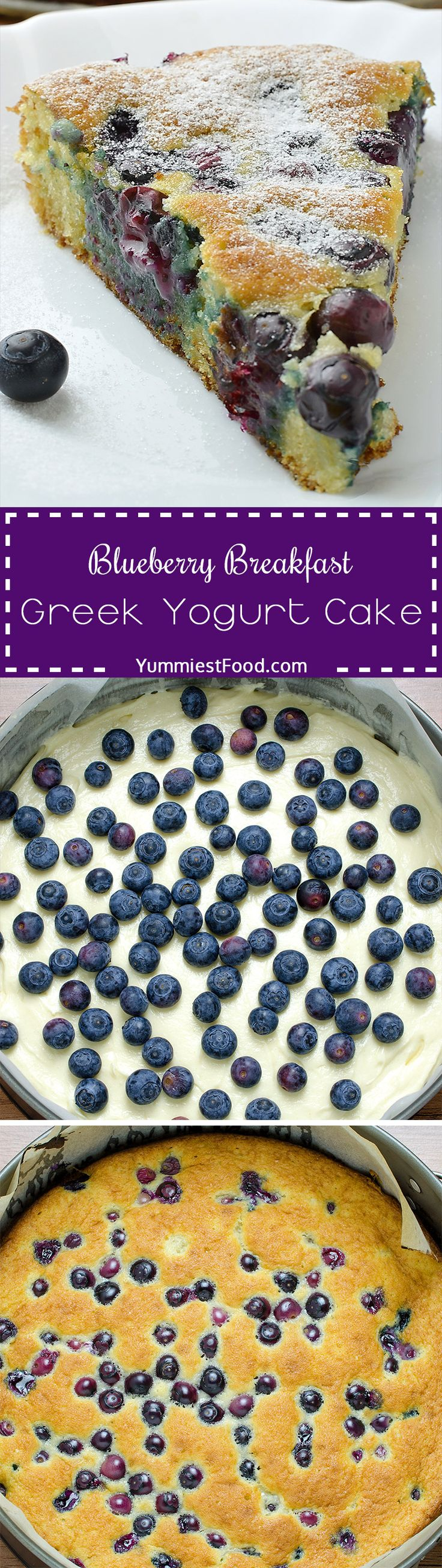 Blueberry Breakfast Greek Yogurt Cake is super easy, healthy and tasty Greek yogurt cake recipe! It is really perfect for breakfast or snack! Blueberry Breakfast Greek Yogurt Cake is soft, moist and fluffy with blueberries in every single bite!