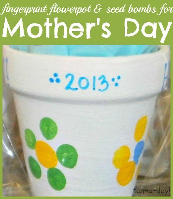 Child-Made Fingerprint Flowerpot for Mother's Day