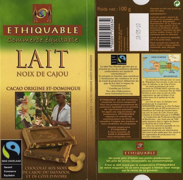 tablette de chocolat lait gourmand ethiquable st domingue lait noix de cajou