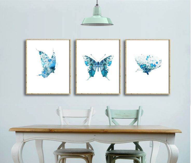 SET of Three Butterflies Watercolor Art Prints by QPrints on Etsy