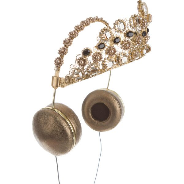 Pre-owned Dolce & Gabbana x Frends 2015 Embellished Crown Headphones ($6,450) ❤ liked on Polyvore featuring accessories, tech accessories, gold, headphones earbuds, ear bud headphone, earbud headphones and frends headphones