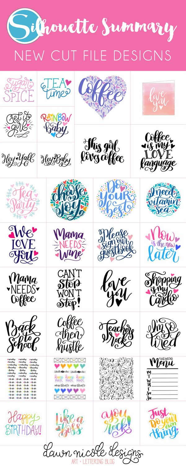 Silhouette Summary: July's New Cut File Designs. A monthly recap of all the designs I've added to the Silhouette Design Store.
