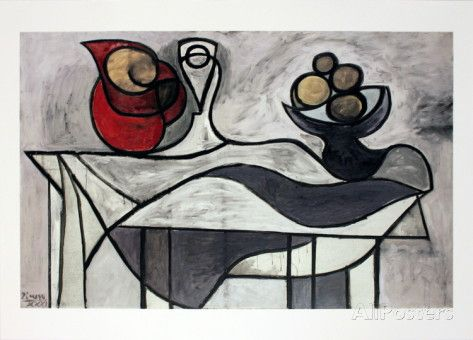 Pitcher and Bowl of Fruit Print by Pablo Picasso at AllPosters.com
