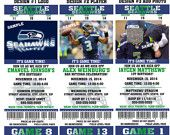 Printable Birthday Party Invitation Card Seattle Seahawks Birthday Ticket Invitation Card Seattle Seahawks Tickets Invitation NFL Football