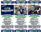 Printable Birthday Party Invitation Card Seattle Seahawks Birthday Ticket Invitation Card Seattle Seahawks Tickets Invitation NFL Football