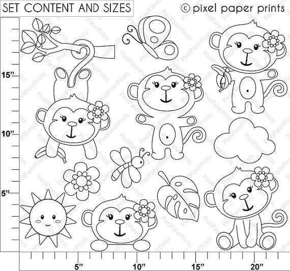 Monkey Girl Digital Stamps set by pixelpaperprints on Etsy