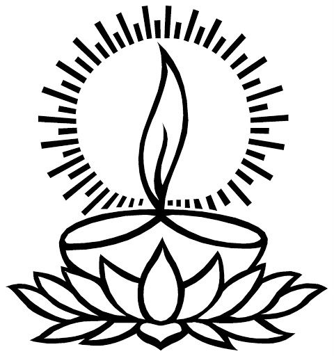 Deepam Clipart Black And White In 2020 Diwali Painting