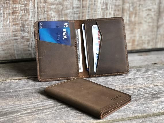 Leather Slim Wallet Men Gift Ideas Compact leather bifold wallet Personalized Leather Vertical Wallet