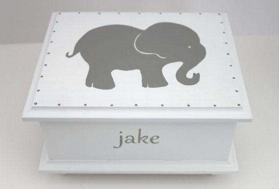 Grey Elephant Baby Keepsake Memory Box by staciedale on Etsy, $88.00