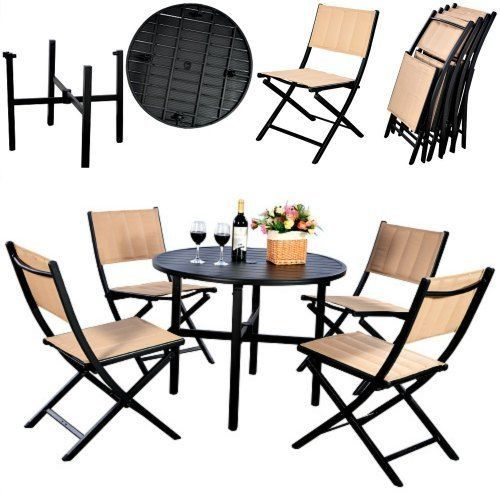 Patio Dining Set 5 Piece Outdoor Table & Folding Chairs Garden Furniture Set New #costway