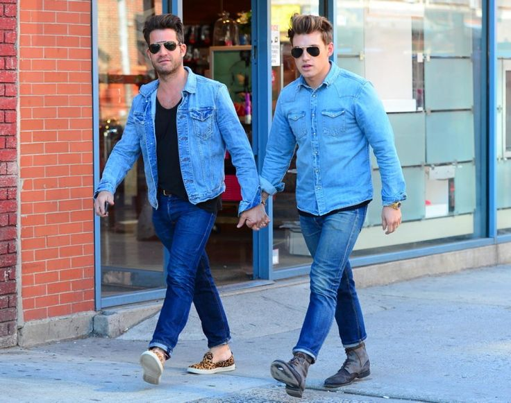 Defining DOUBLE DOUBLE DENIM: Nate Berkus with husband Jeremiah Brent in NYC