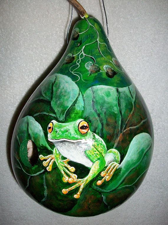 Gourd Birdhouse Tree Frog And Honeybee By