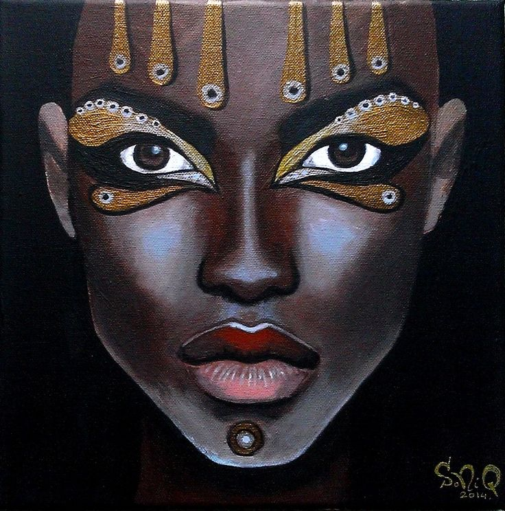 Women of the Earth: African Woman IV. - 30x30cm, akryl na płótnie.