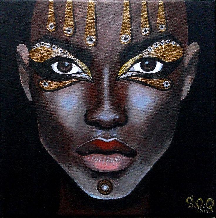 Women of the Earth: African Woman IV. - 30x30cm, akryl na płótnie.