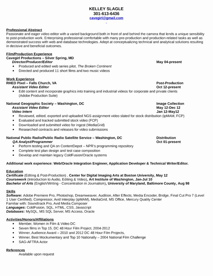 Video Editor Resume Examples New Professional Video Editor Resume Template Cv Resume Sample Resume Examples Free Resume Samples