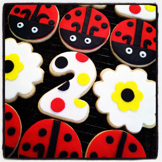 Ladybug Sugar Cookies-Little Miss Ladybug Cookie Favor- Ladybug Cookie Favors  - First Birthday Cookies - Ladybug Cookies  on Etsy, $24.00