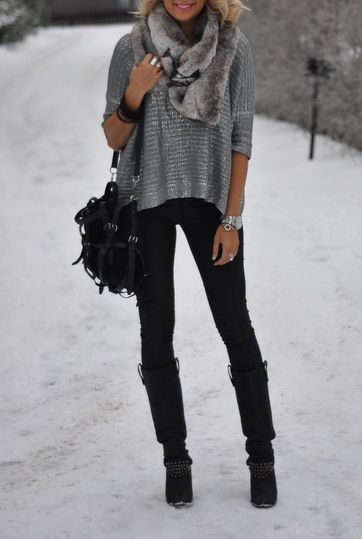 sparkle sweater and fur scarf