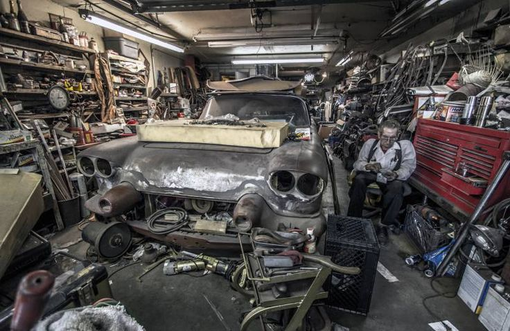 Bill Hines still has several custom car projects underway in his crowded garage.