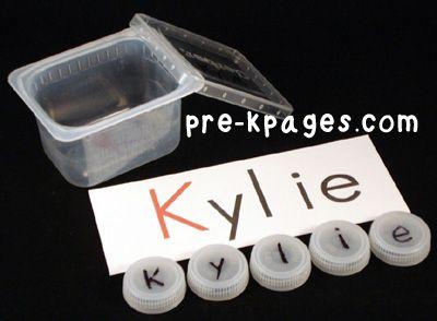 Bottle Cap Names in #preschool and #kindergarten via www.pre-kpages.com