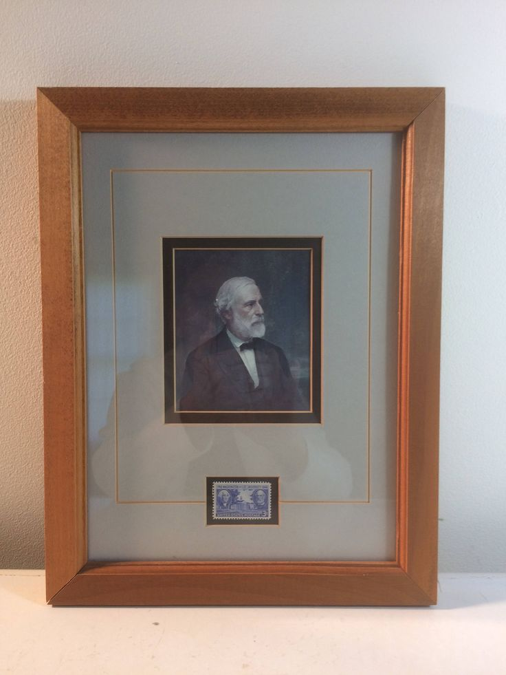 Civil War General Robert E. Lee 1980's Double Matted and Framed Picture and 1949 Commemorative Stamp Washington and Lee University by LRFoxDesign on Etsy