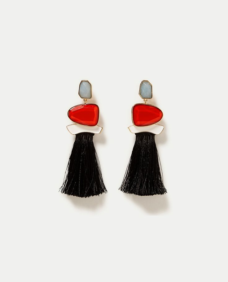 ZARA - WOMAN - TASSELLED GEM STONE EARRINGS