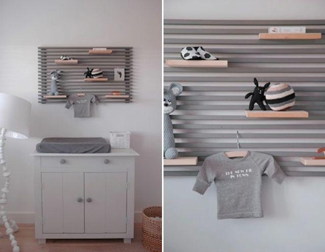 A section of Ikea's Mandal Headboard, mounted above the changing table, provides additional storage opportunities.