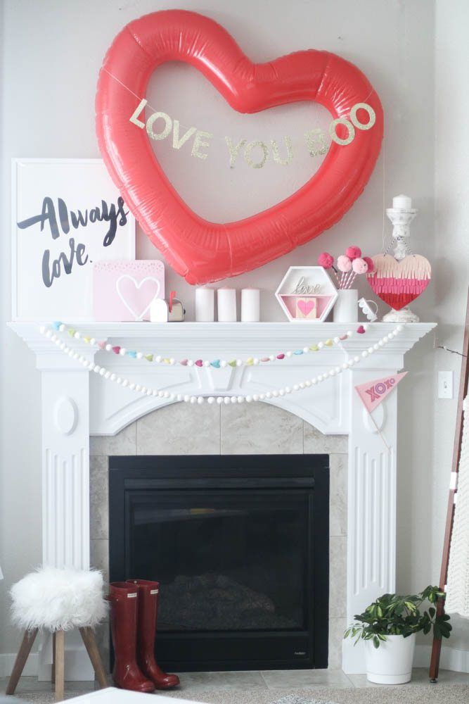 valentine's day mantel home decor // home decor valentine's day // valentine's day // decor on a budget // valentine's day decor ideas // heart home decor // pink and red home decor // jess oakes // positively oakes
