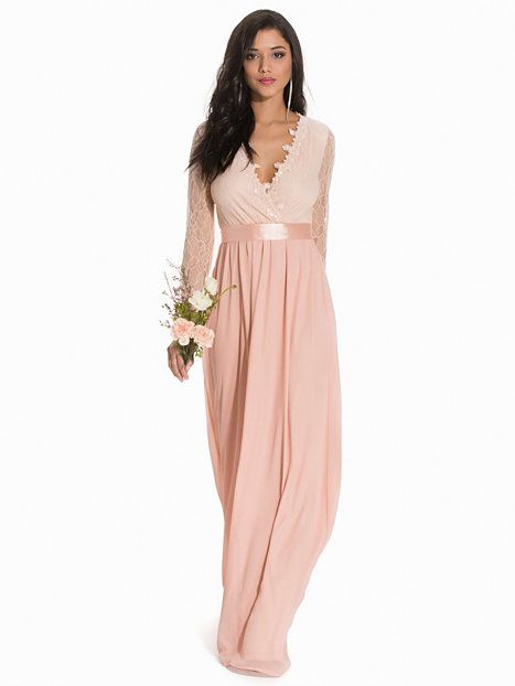 Buy NLY Eve Light Pink Long Sleeve Maxi Gown online in India at best price.  Maxi dress from NLY Eve. Bodice in wraparound style in sequin-adorned lace.