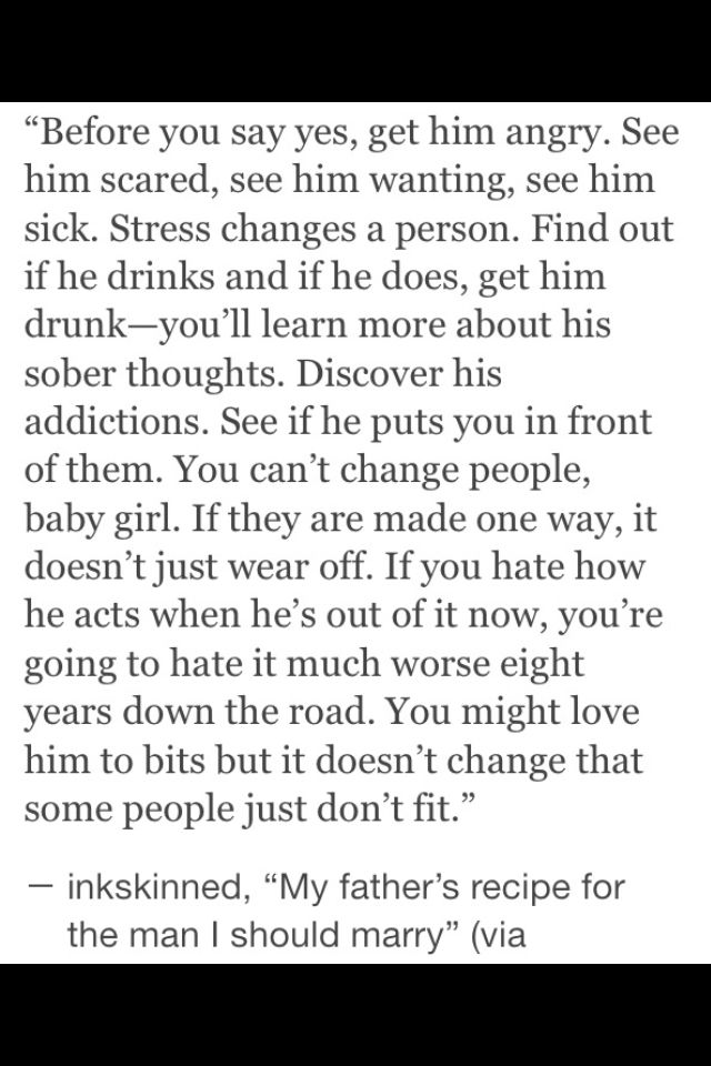 """You might love him to bits but that Doesn't Change the fact that some people just don't fit"""