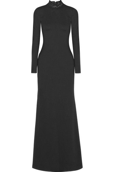 Alice Olivia - Rosamund Lace-paneled Stretch-jersey Gown - Black - US12