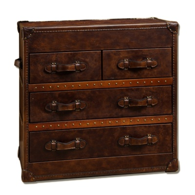 Vintage Steamer Trunk Low Chest Side Table