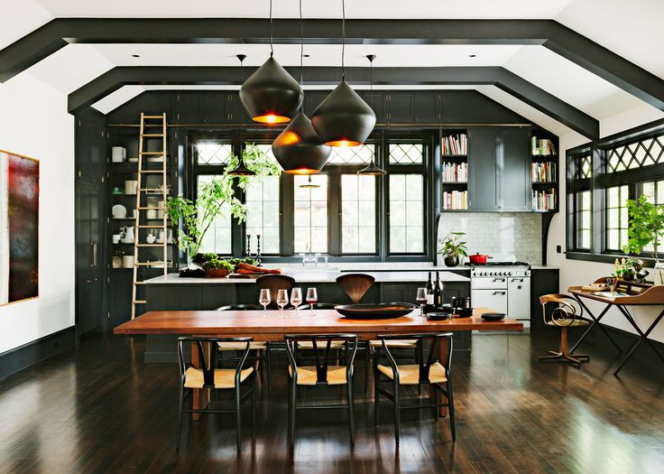 Tom Dixon Beat Lights - Stout: Black Cabinets, Interiors Design, Craftsman Kitchens, Black Kitchens, House, Public Libraries, Books Lovers, Kitchens Cabinets, White Kitchens